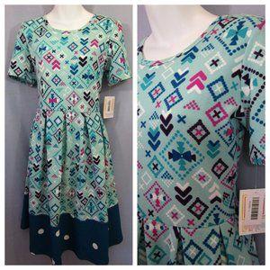 NWT Lularoe Amelia Dress Bows and Dots Turquoise L